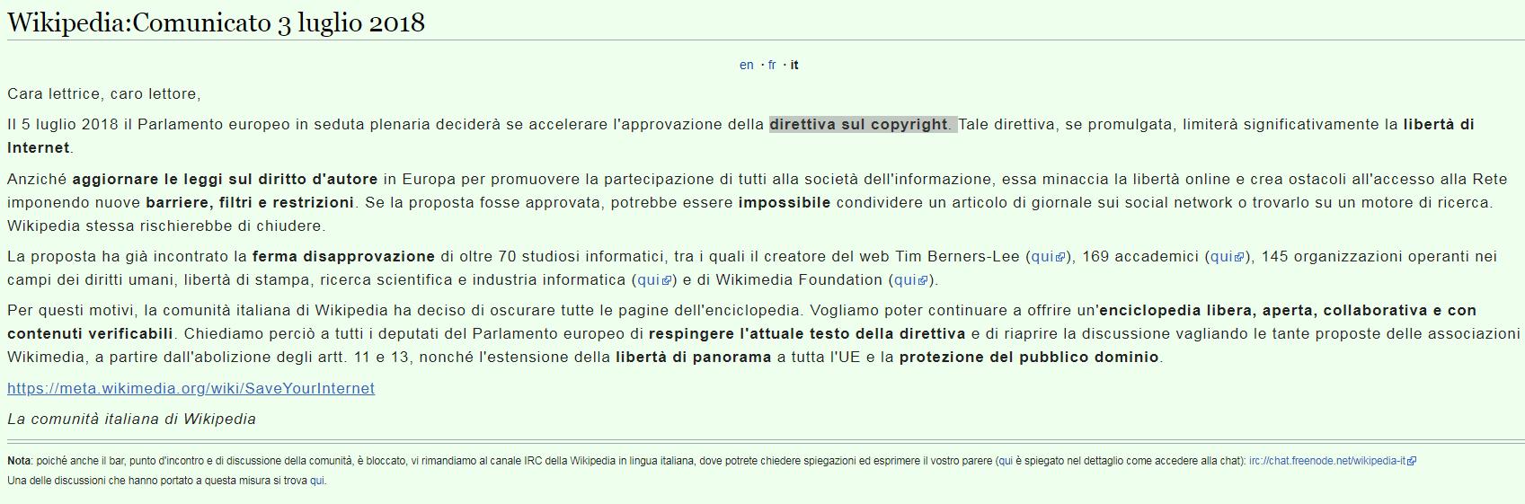 Wikipedia contro la nuova direttiva Ue sul copyright, enciclopedia bloccata | L Ue arriva a rassicurare, ma...