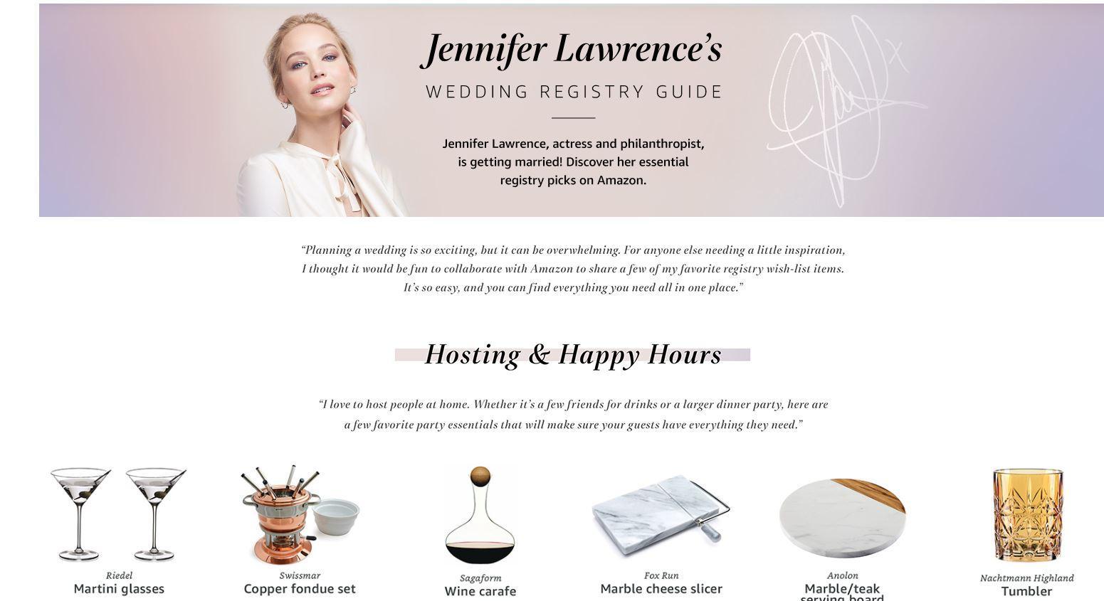 Jennifer Lawrence, lista nozze ... benefica