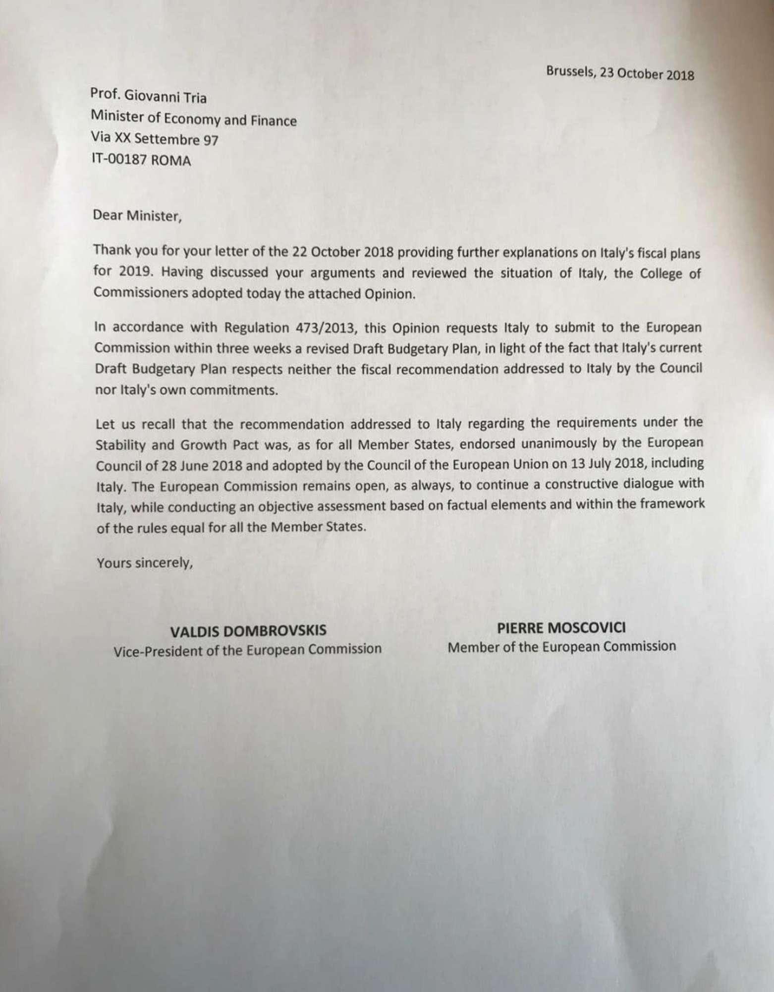 La Ue boccia la Manovra: ecco la lettera inviata al ministro Tria