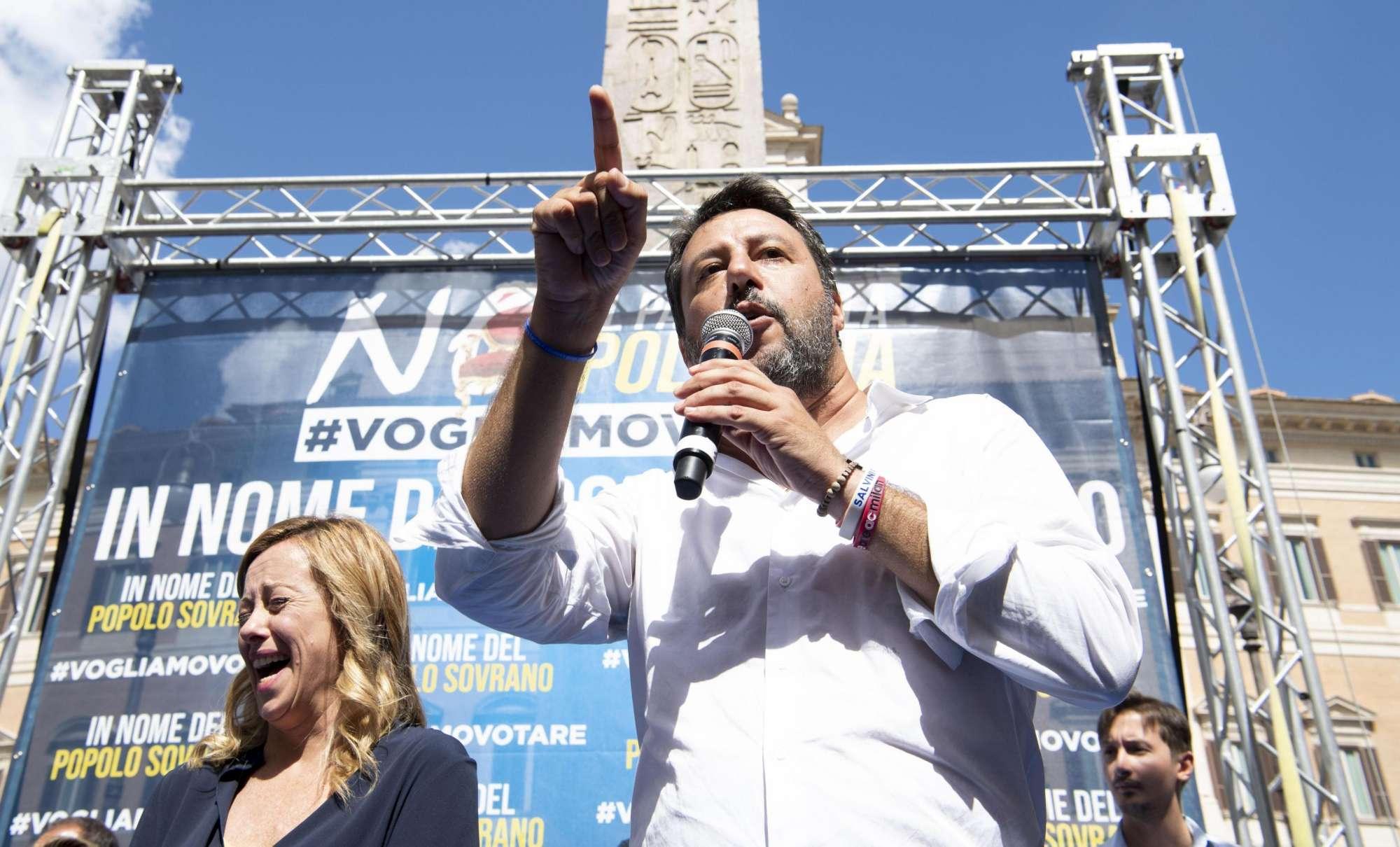 Lega e Fratelli d Italia in piazza contro il governo giallorosso