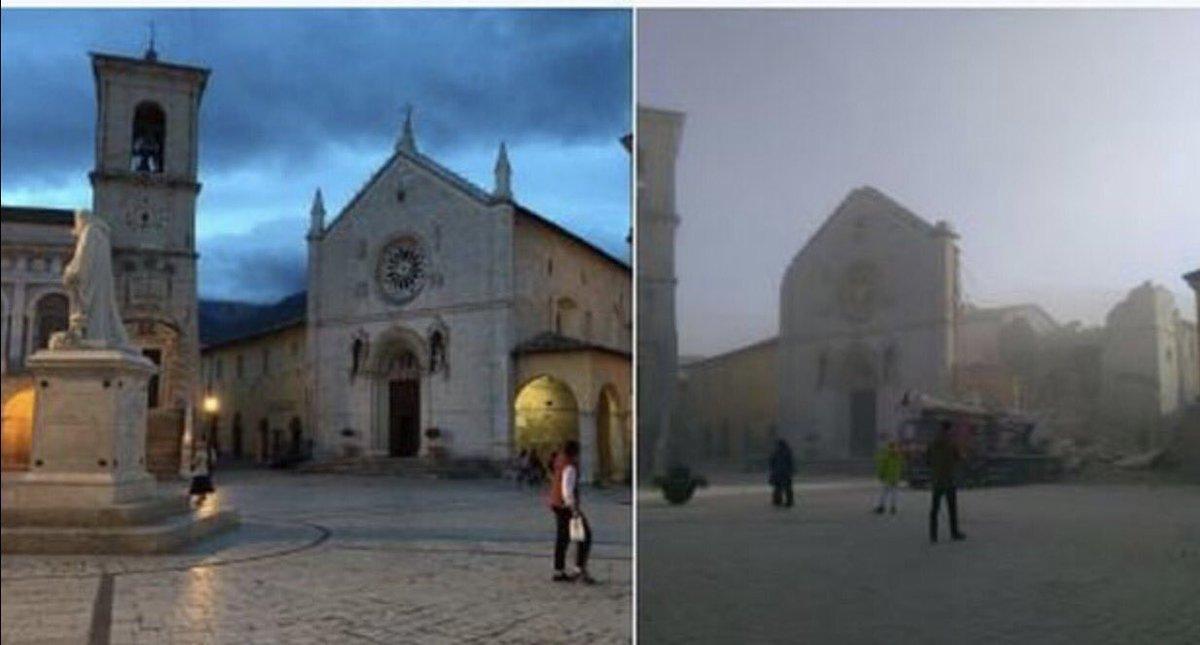 Terremoto, le immagini di Norcia e Castelluccio prima e dopo il sisma
