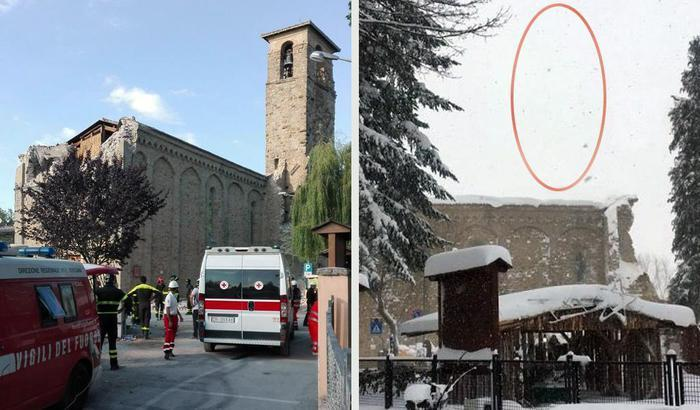 Terremoto, ad Amatrice crolla il campanile di Sant Agostino