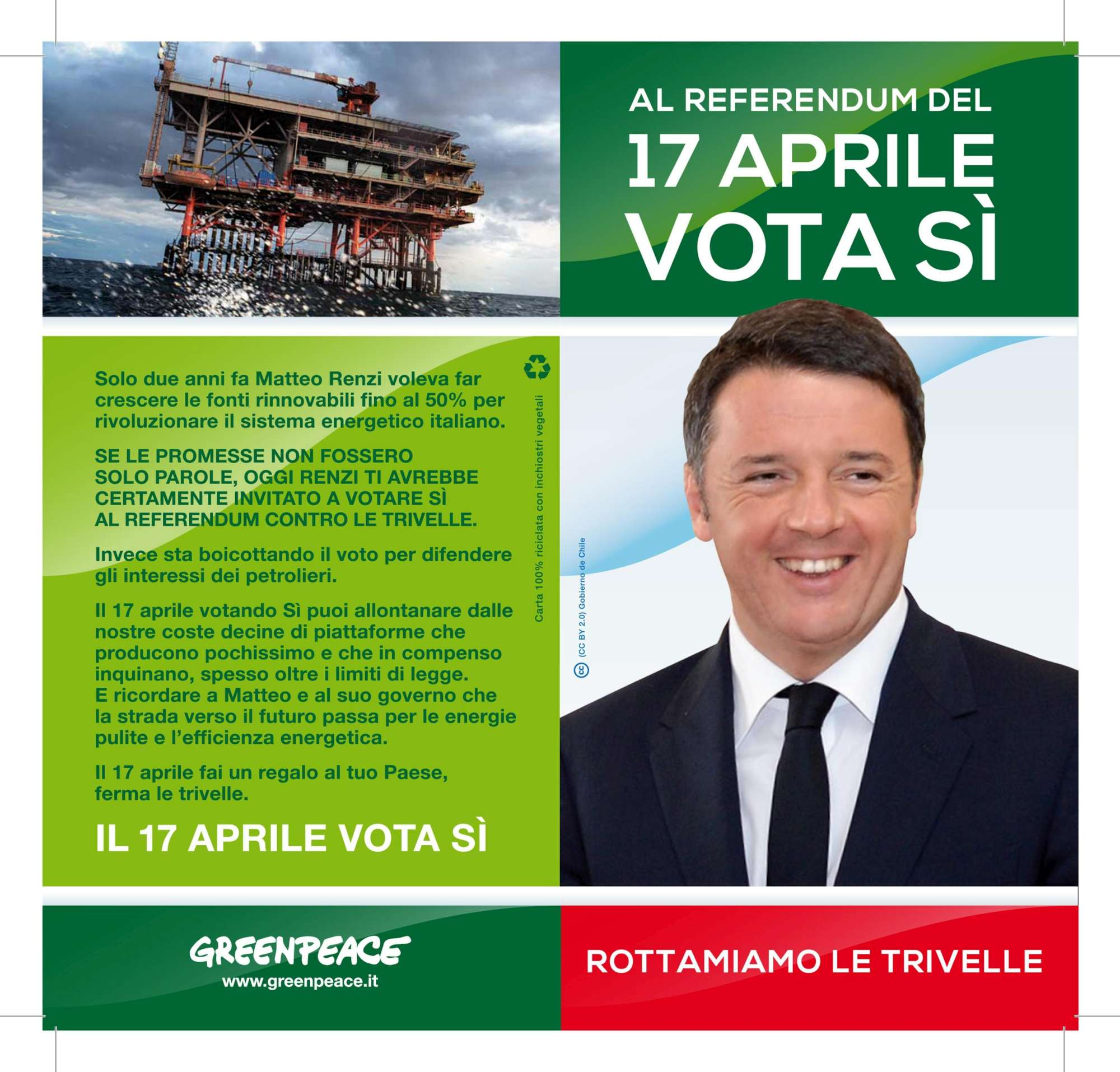 La provocazione di Greenpeace: Renzi vota sì al referendum