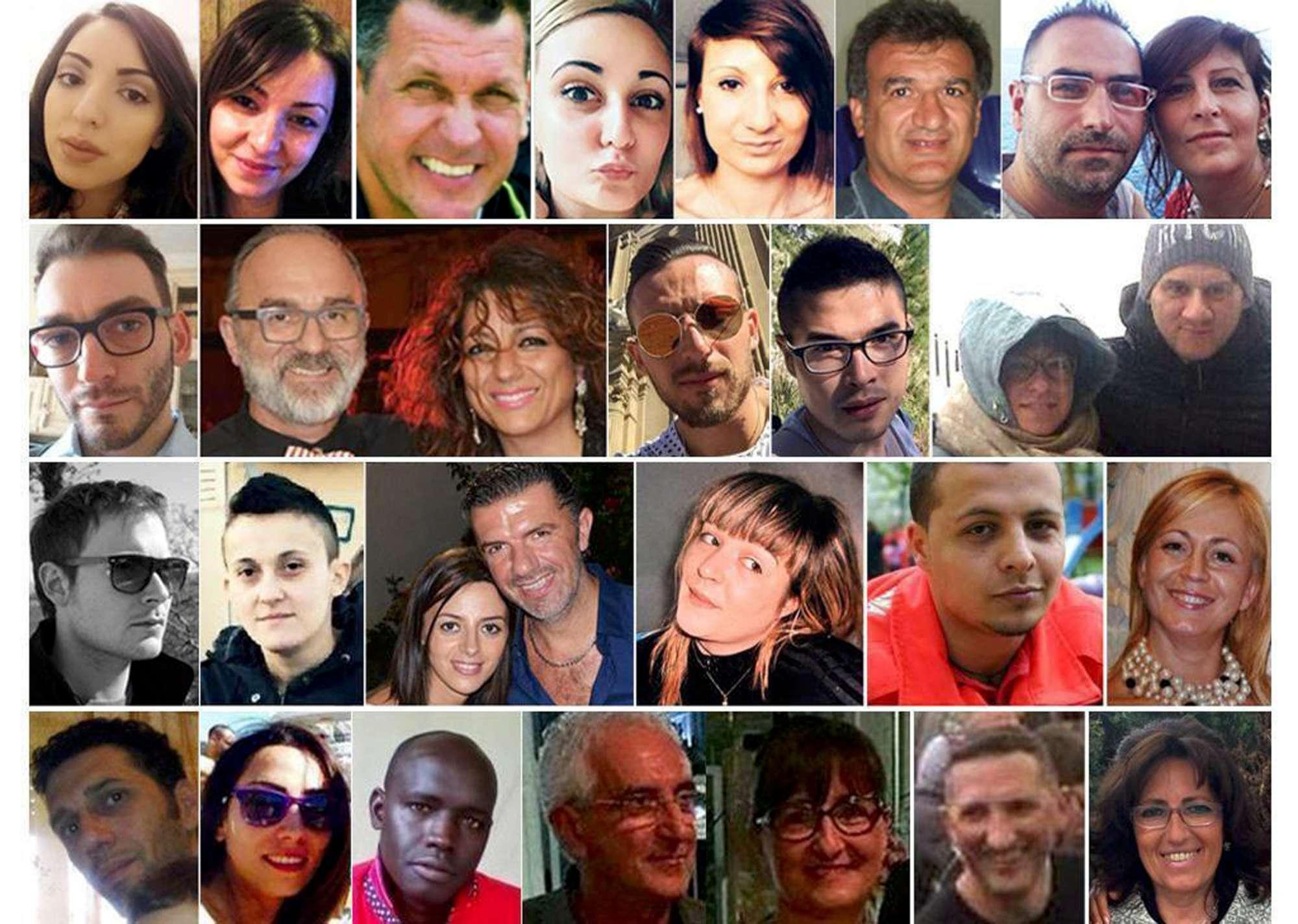 Le vittime della slavina sull Hotel Rigopiano