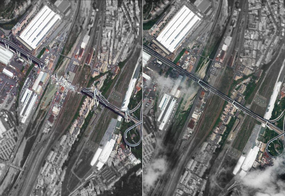 Genova, il ponte Morandi visto dal satellite prima e dopo il crollo
