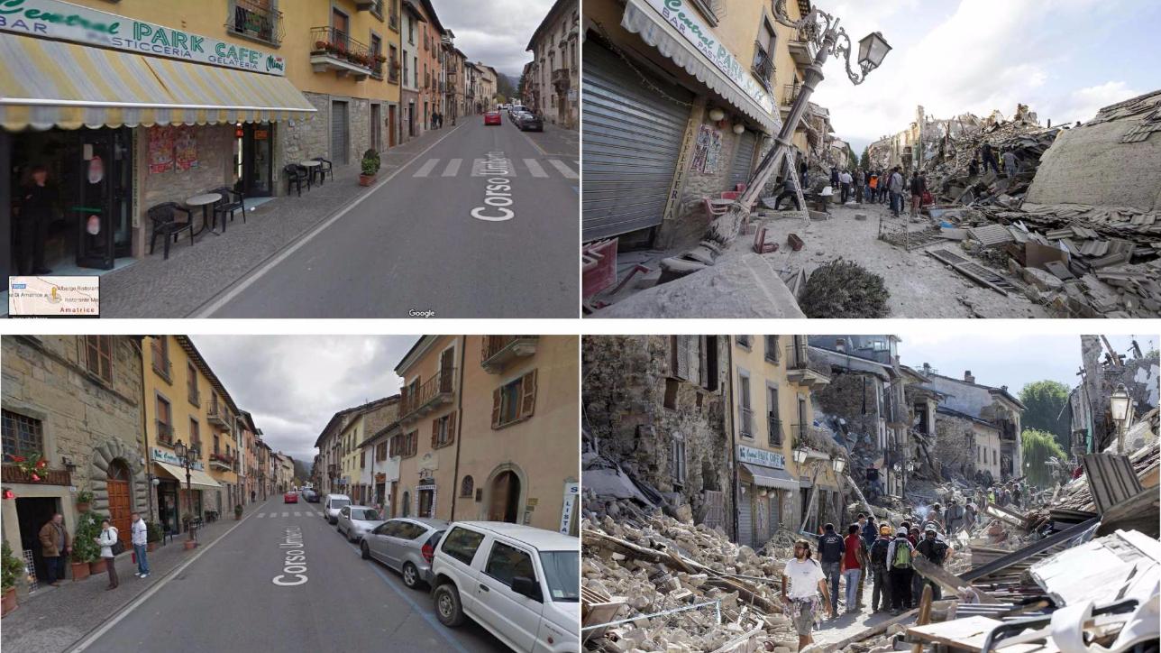 Amatrice prima e dopo il devastante terremoto