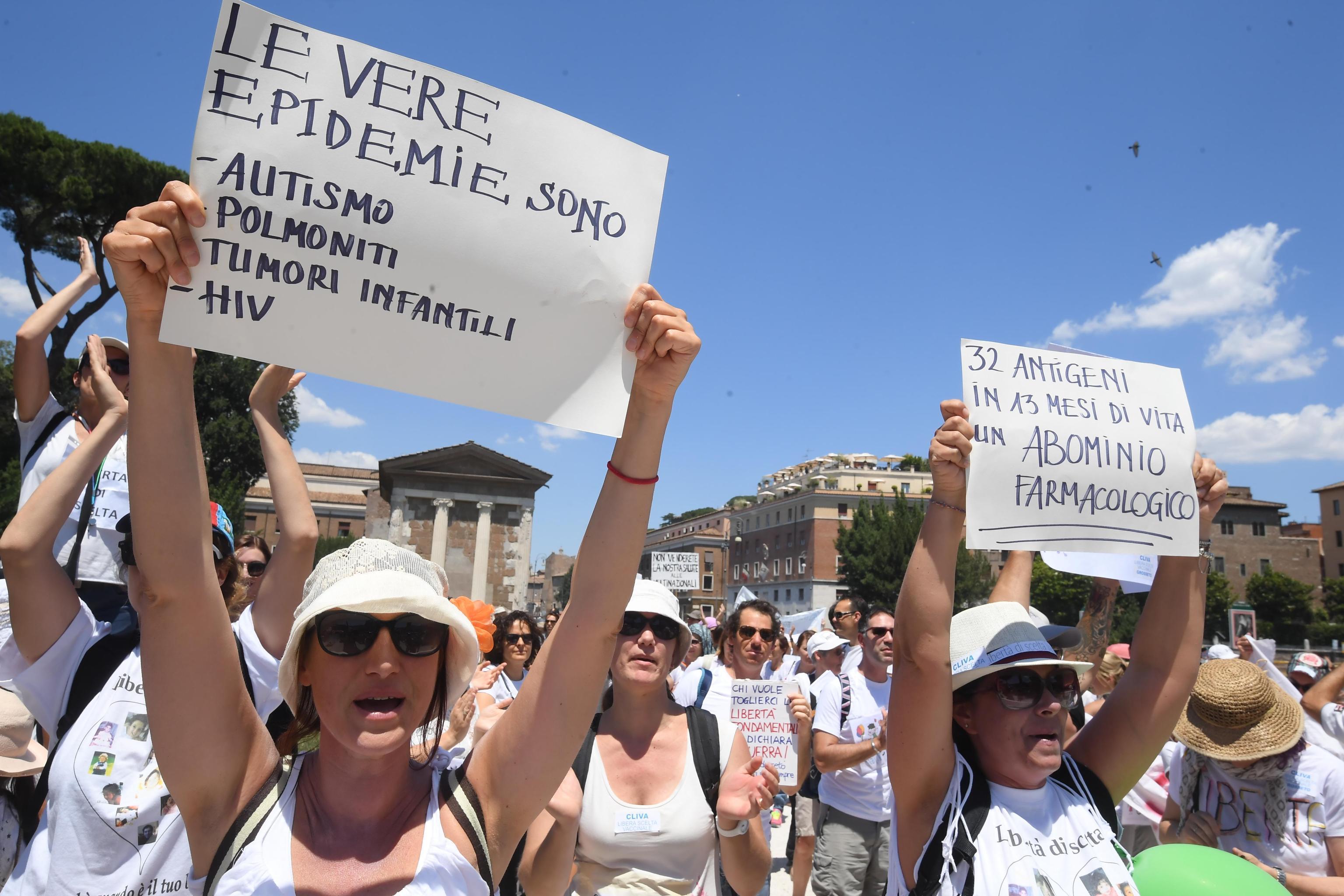 Vaccini obbligatori, a Roma il corteo  no vax : cartelli contro la Lorenzin