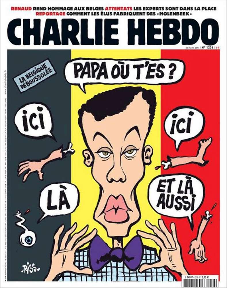 Charlie Hebdo, prima pagina shock su attentati di Bruxelles