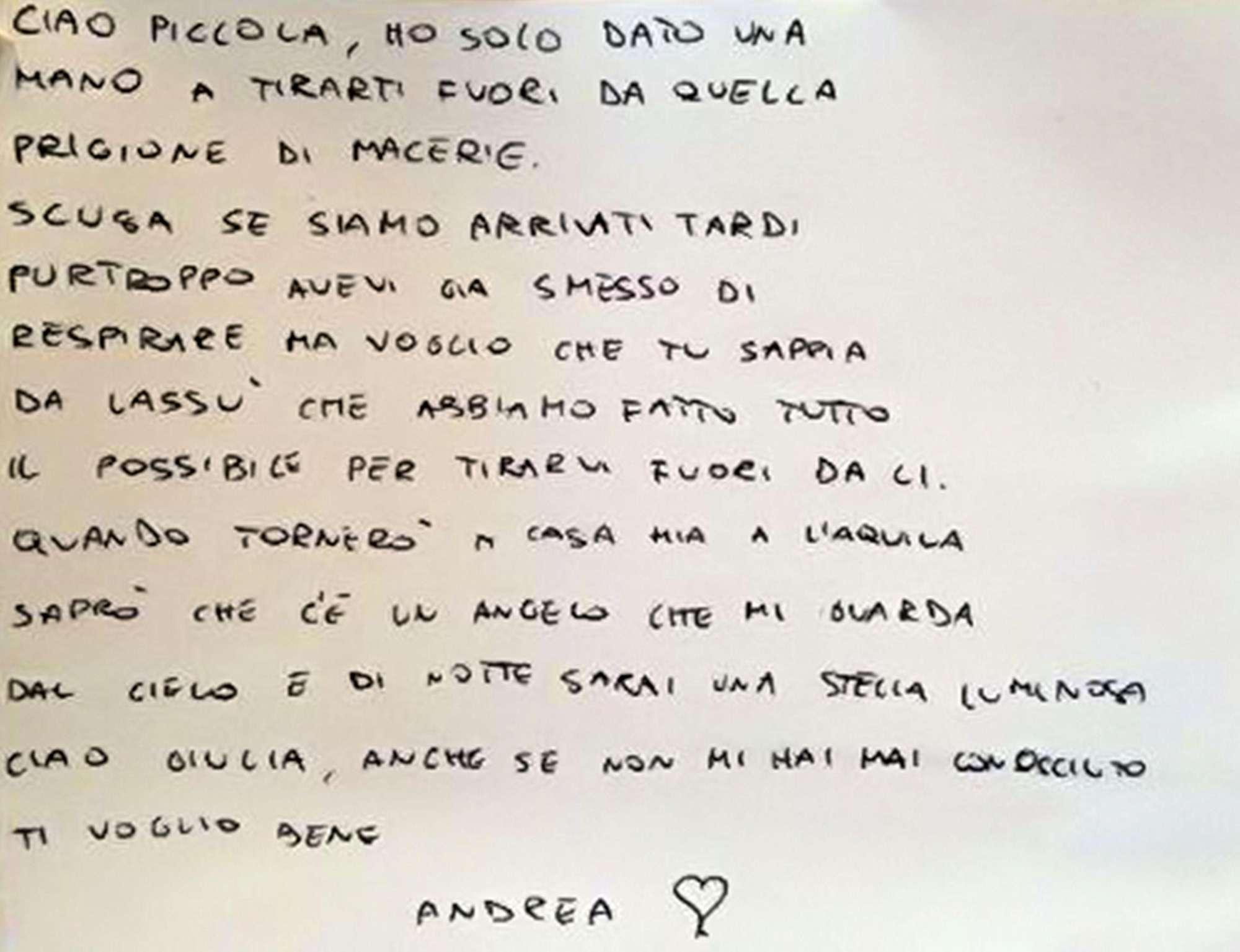 La lettera del soccorritore alla piccola Giulia:  Scusaci