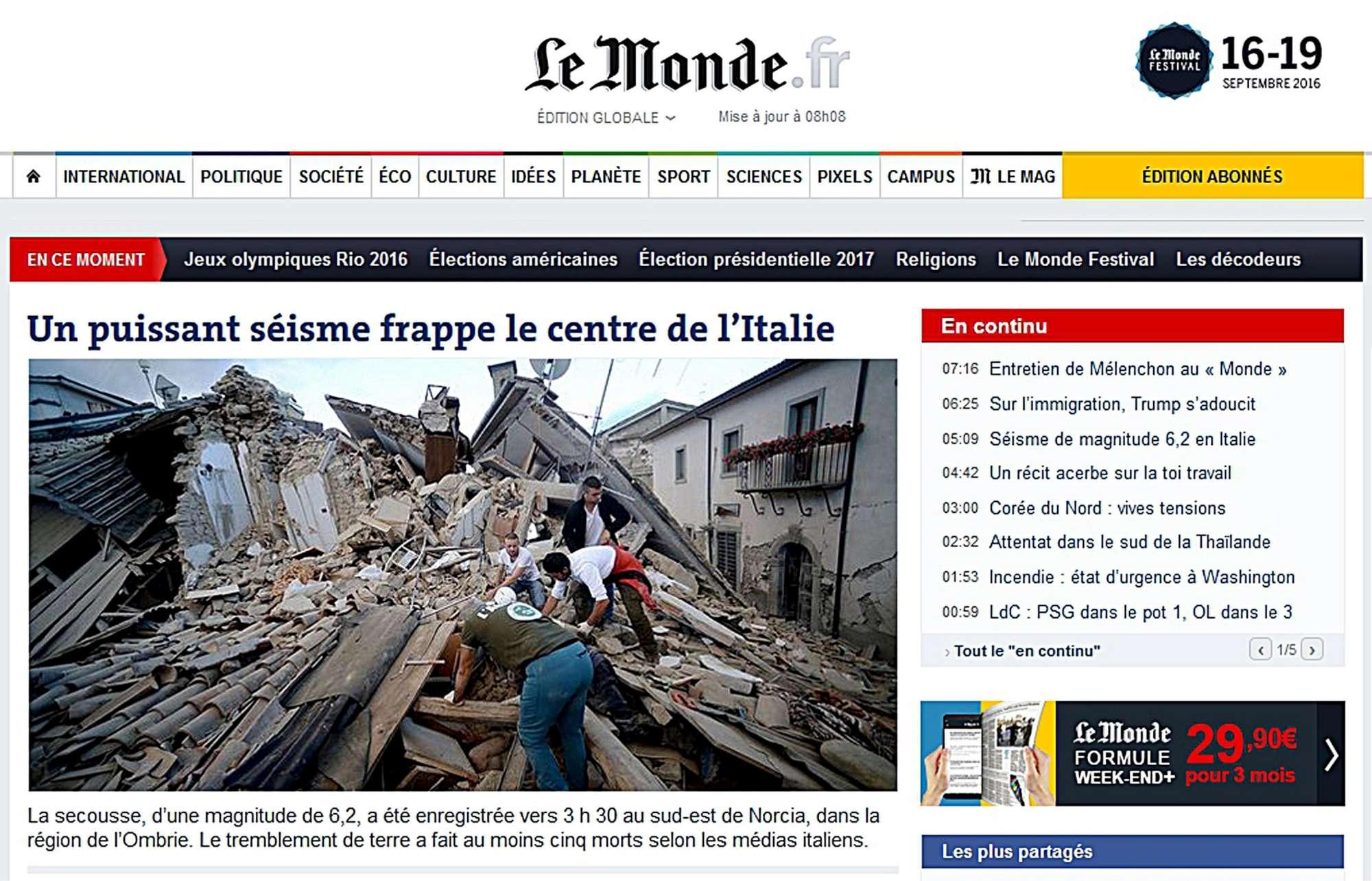 Morte sotto le macerie, la stampa internazionale racconta il terremoto