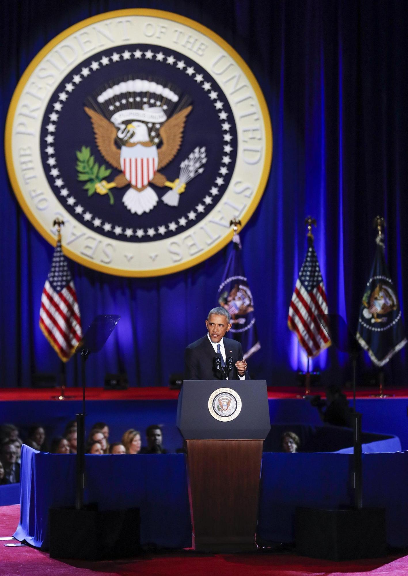 Usa, a Chicago il discorso di addio di Barack Obama