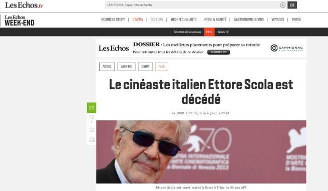 Ettore Scola, nelle prime pagine dei notiziari l omaggio della Francia