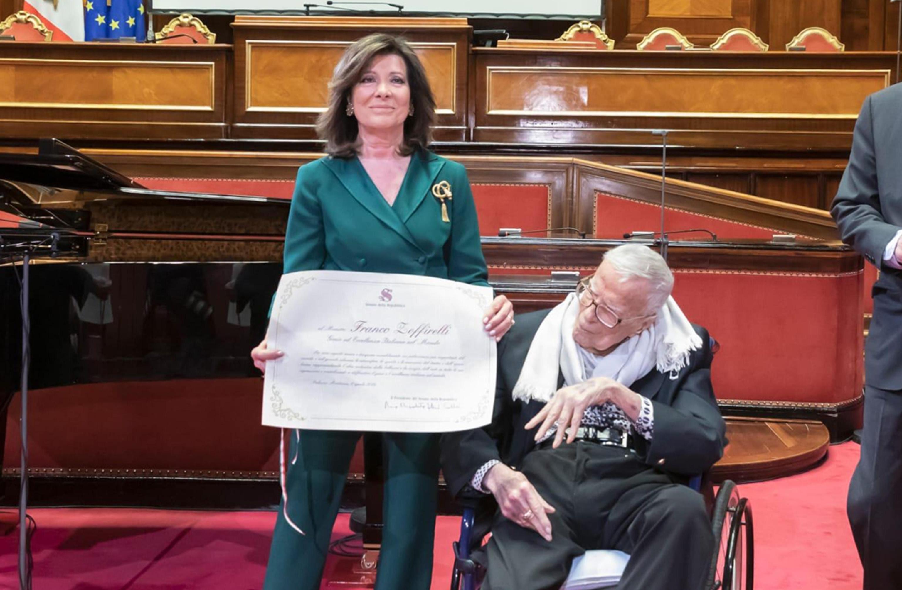 Senato e Cultura, la presidente Casellati premia Zeffirelli