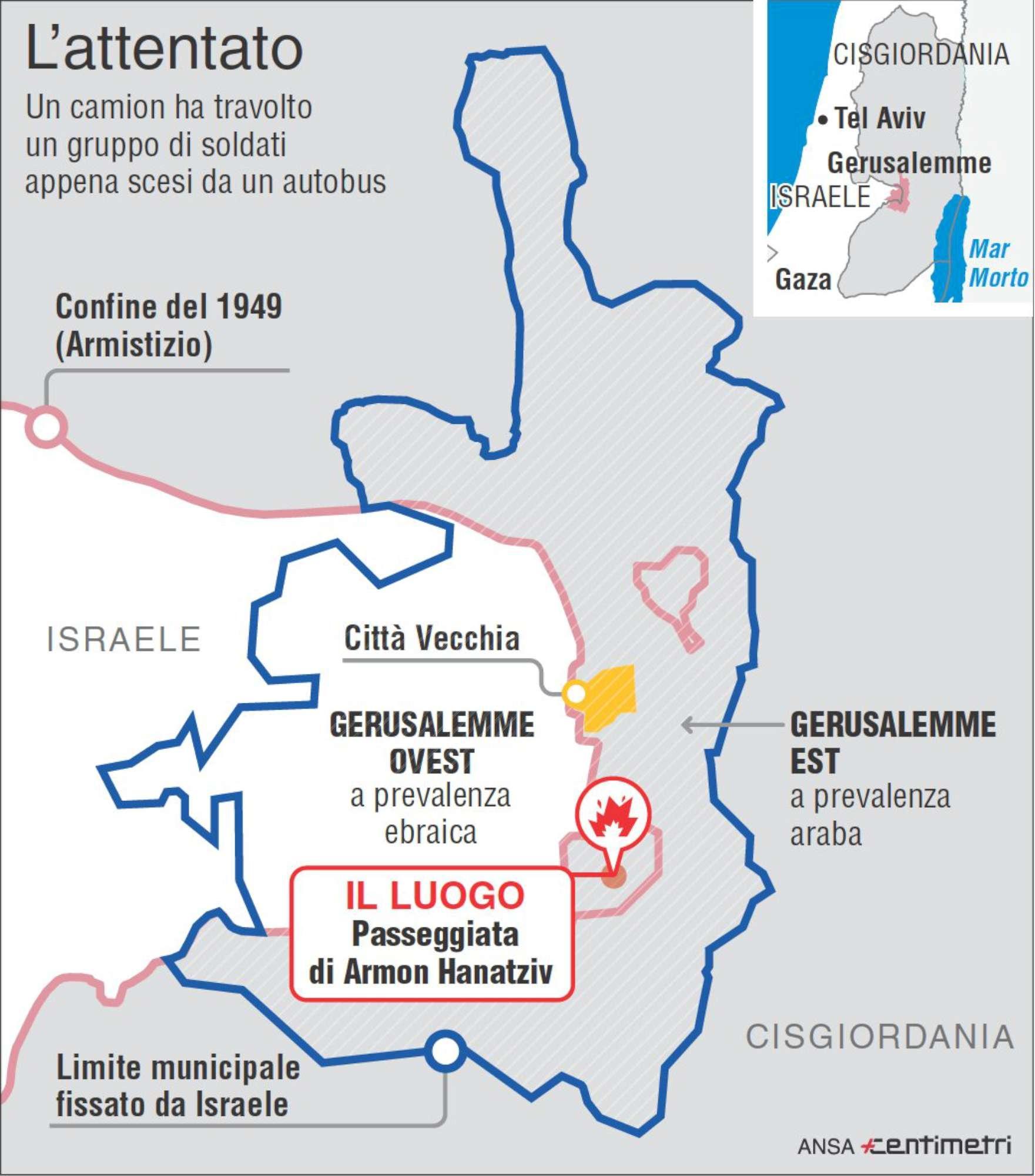 Gerusalemme, il luogo dell attentato contro i soldati