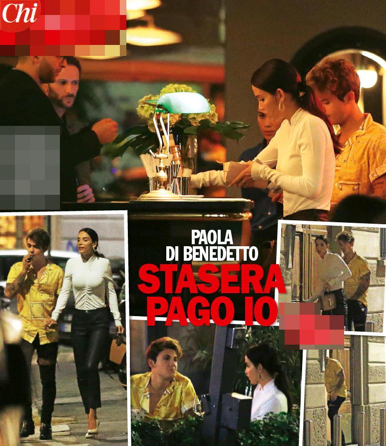 Paola Di Benedetto e Fede, a cena paga lei