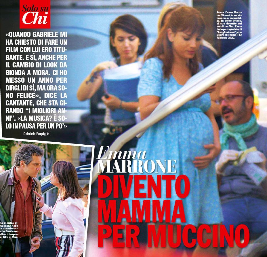 Emma Marrone diventa mamma per Muccino: prima foto col pancione sul set