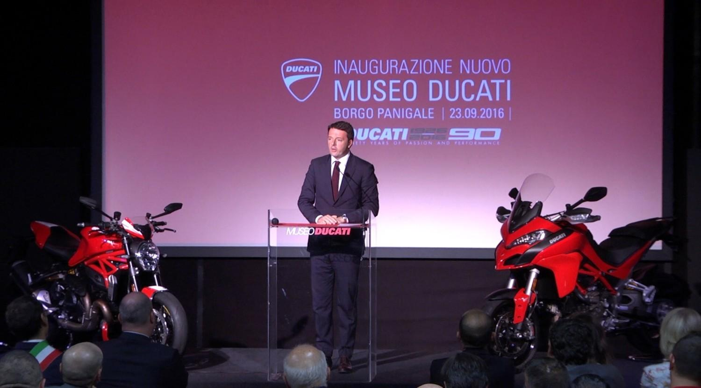 Renzi all'inaugurazione del nuovo Museo Ducati