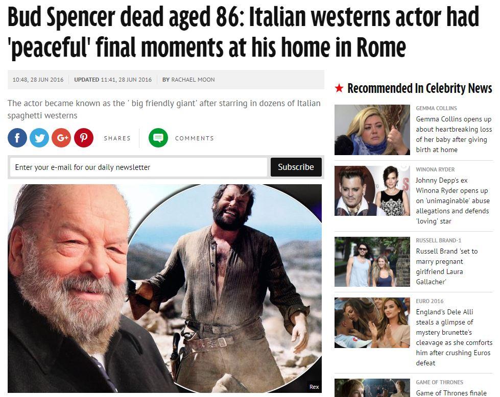 Bud Spencer, così lo ricorda la stampa estera