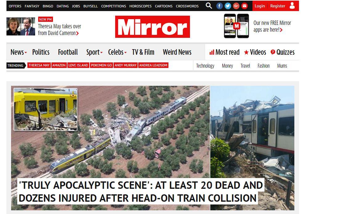 Gli occhi del mondo sulla Puglia: disastro ferroviario apre i siti internazionali