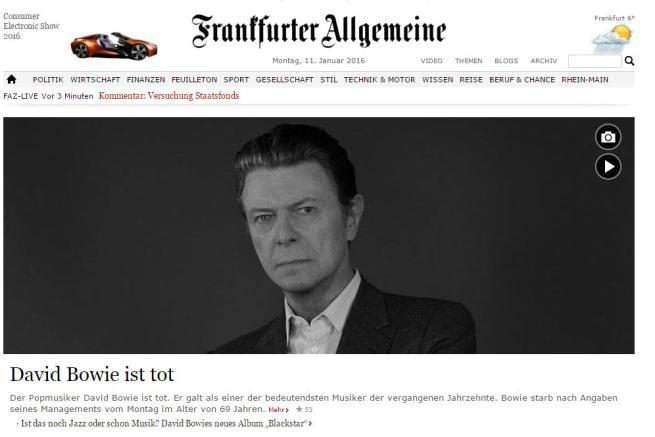 David Bowie, la notizia della morte finisce sulle prime pagine