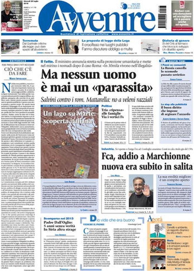 Salvini, anche Avvenire contro il ministro:  Nessun uomo è parassita