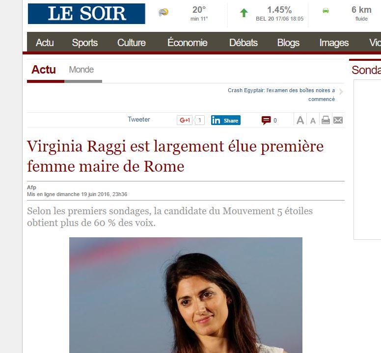 Raggi sindaco di Roma sui siti internazionali