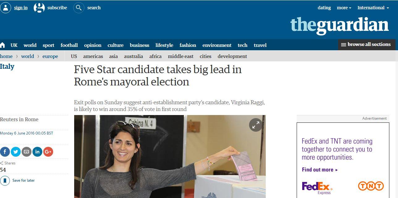 L affermazione di Virginia Raggi sulla stampa estera