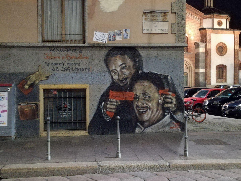 Milano, Falcone  spara  a Borsellino: sfregiato il murales dedicato ai due giudici-eroi