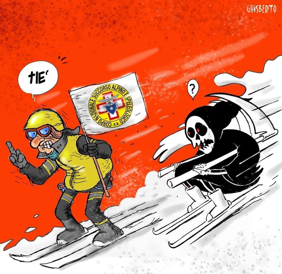 Rigopiano, la risposta di un vignettista italiano allo humour nero di Charlie Hebdo