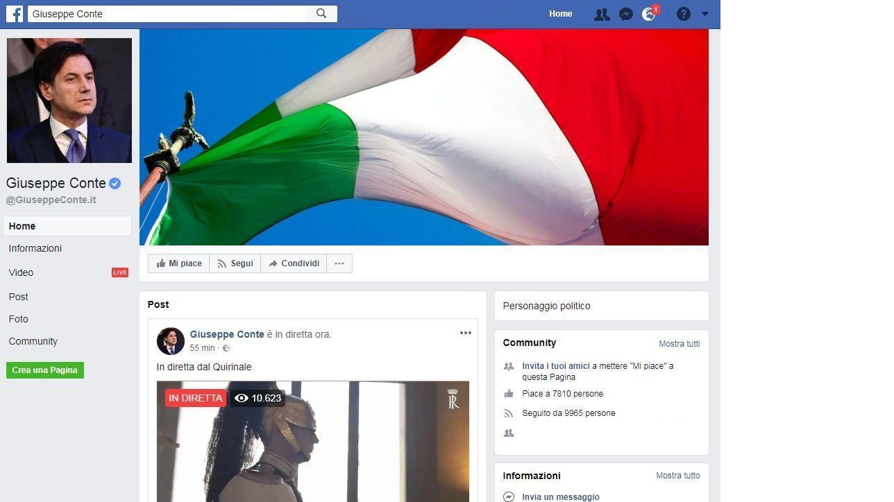 Giuseppe Conte attiva profilo Facebook e fa la diretta dal Quirinale