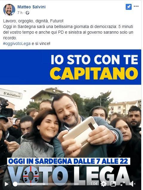 Regionali Sardegna, Salvini viola (ancora) il silenzio elettorale