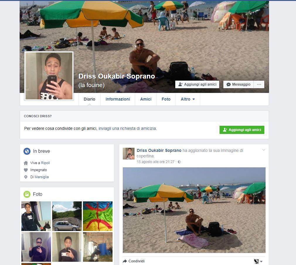 Driss Oukabir, sul suo profilo Facebook musica e video per la liberazione della Palestina