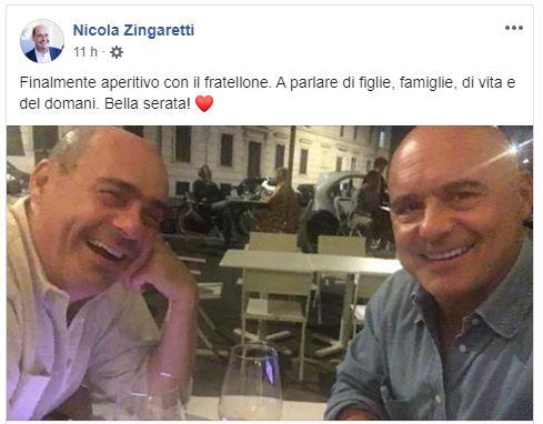 Selfie di Nicola Zingaretti e Luca:  Finalmente con il fratellone