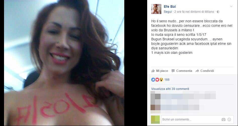 Primo maggio, Efe Bal si spoglia in aereo: denunciata