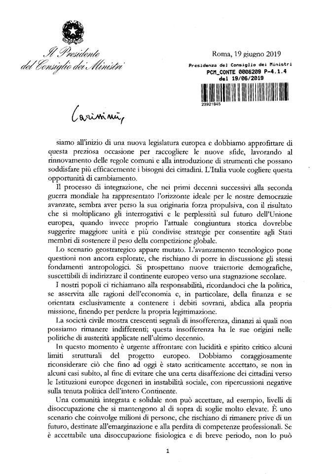 Il premier Conte scrive alla Ue: ecco la lettera