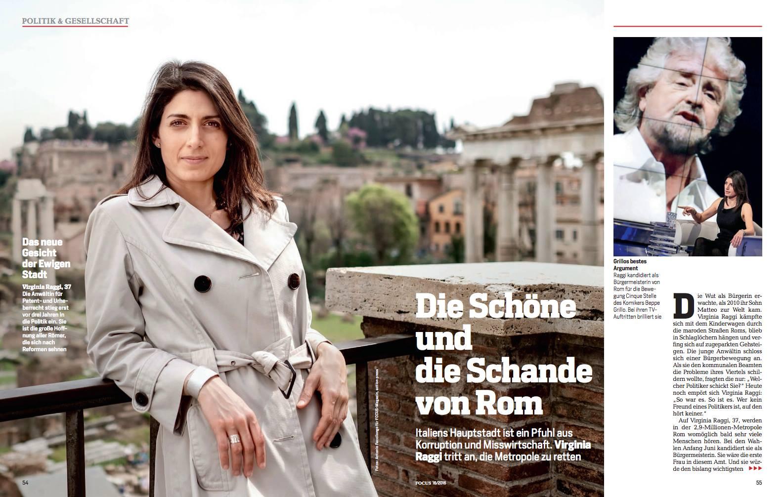 Virginia Raggi in copertina:  La bella e la vergogna di Roma