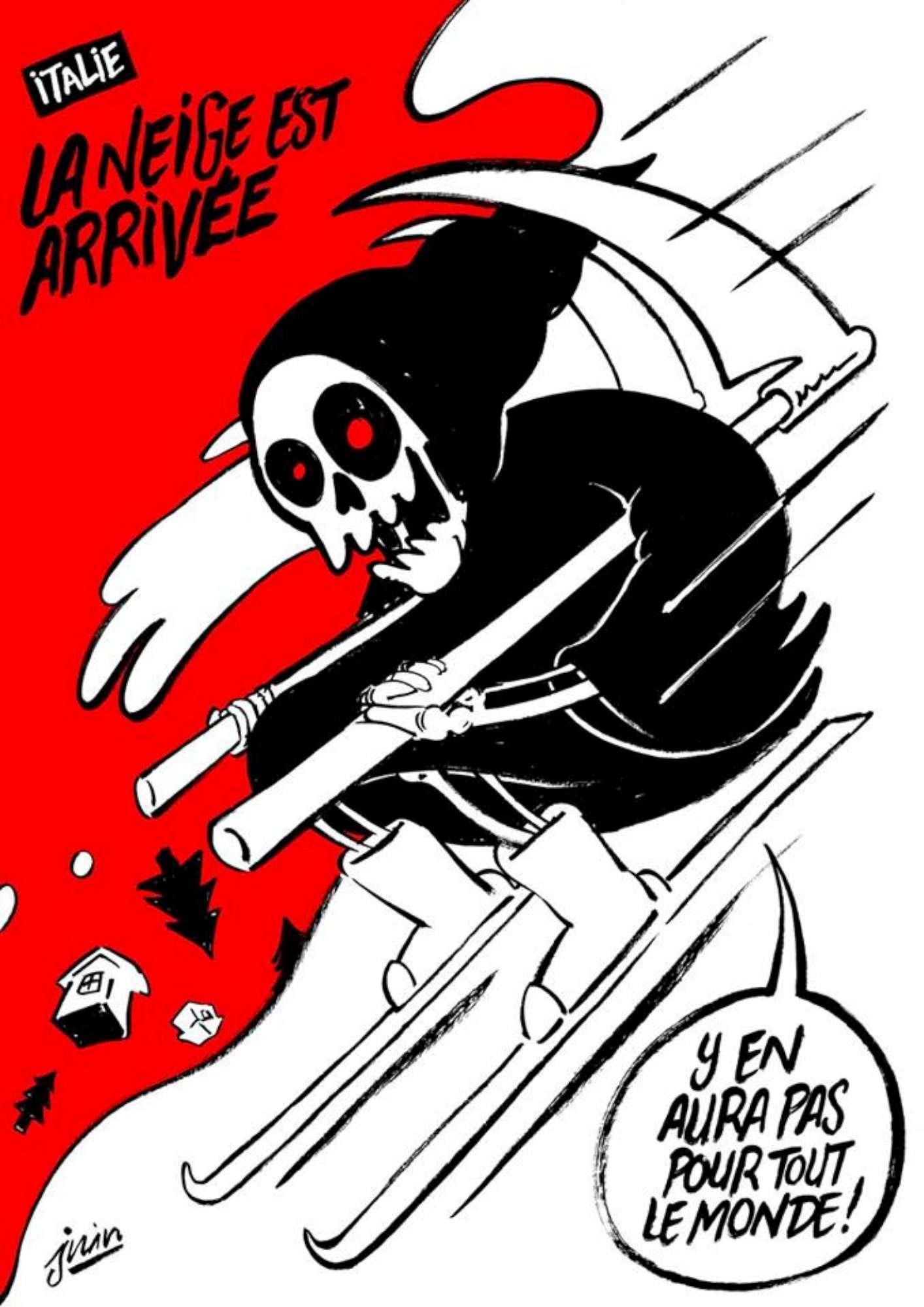 Hotel Rigopiano, la morte in sci: Charlie Hebdo ironizza sulla valanga