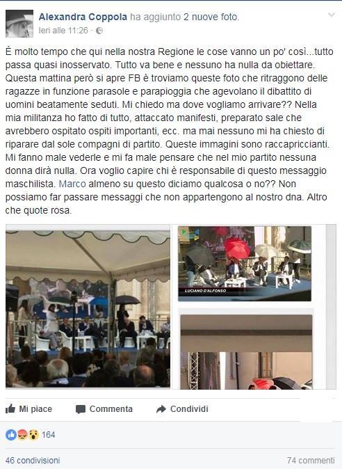 Donne-ombrello a manifestazione Pd in Abruzzo: la polemica social