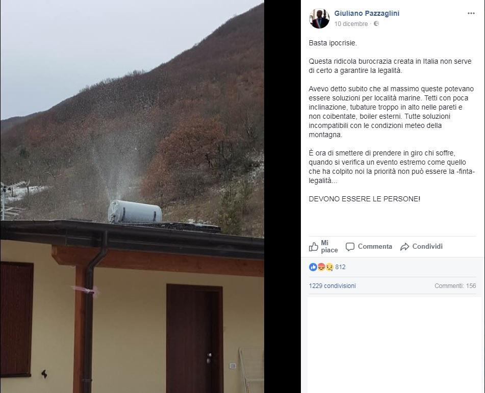 Terremoto, nelle casette delle Marche il freddo fa  esplodere  i boiler:  Soluzioni abitative incompatibili con la montagna