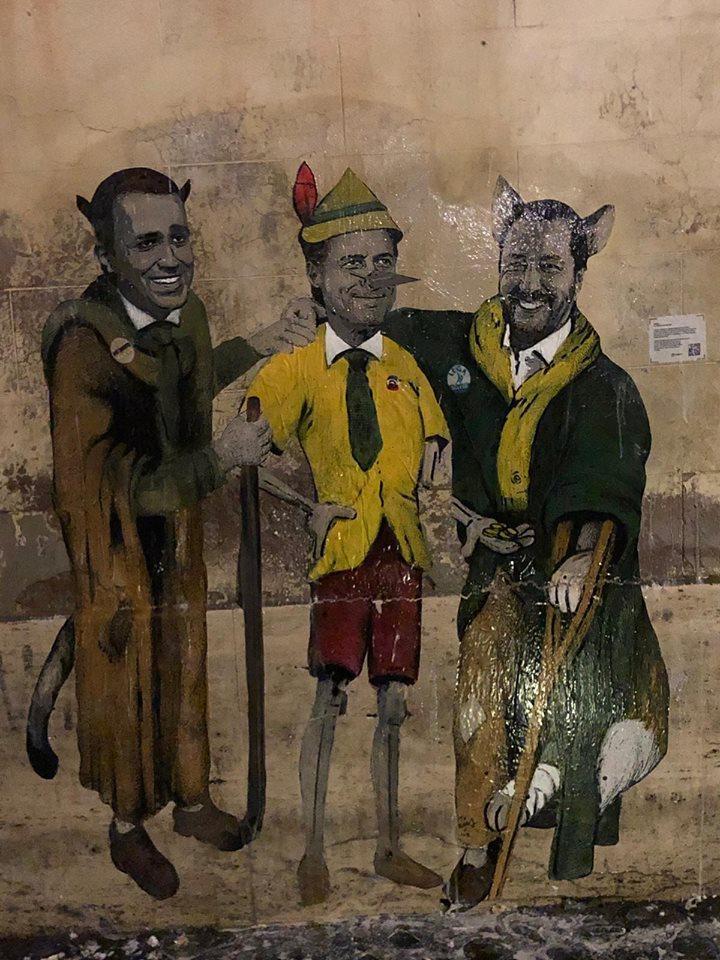 Conte Pinocchio, Raggi e Papa: i  nuovi  soggetti di TvBoy tra le strade di Roma