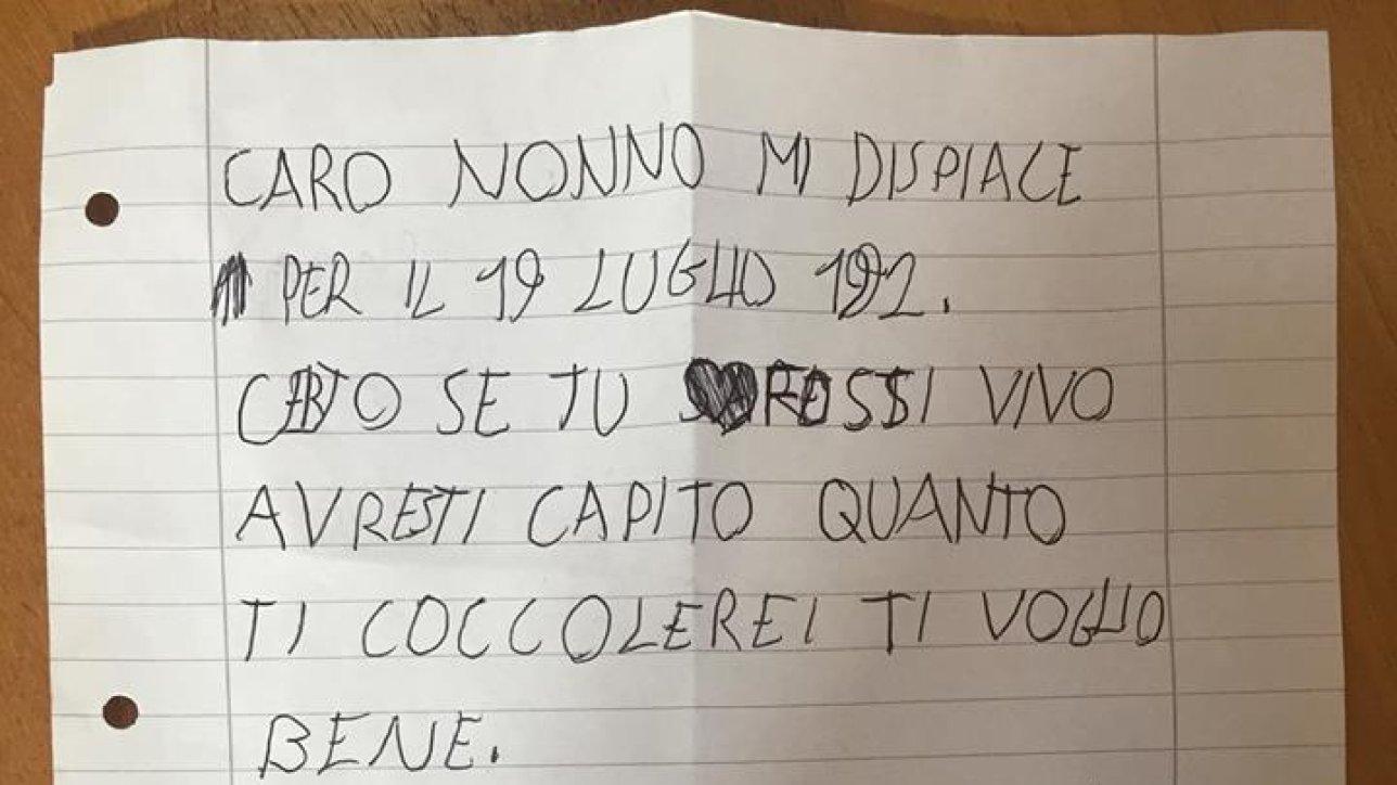 d9350cfffc Borsellino, la nipotina gli scrive una lettera: