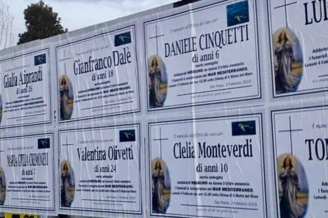 Brescia, finti manifesti funebri pro migranti: nomi italiani per scuotere i cittadini