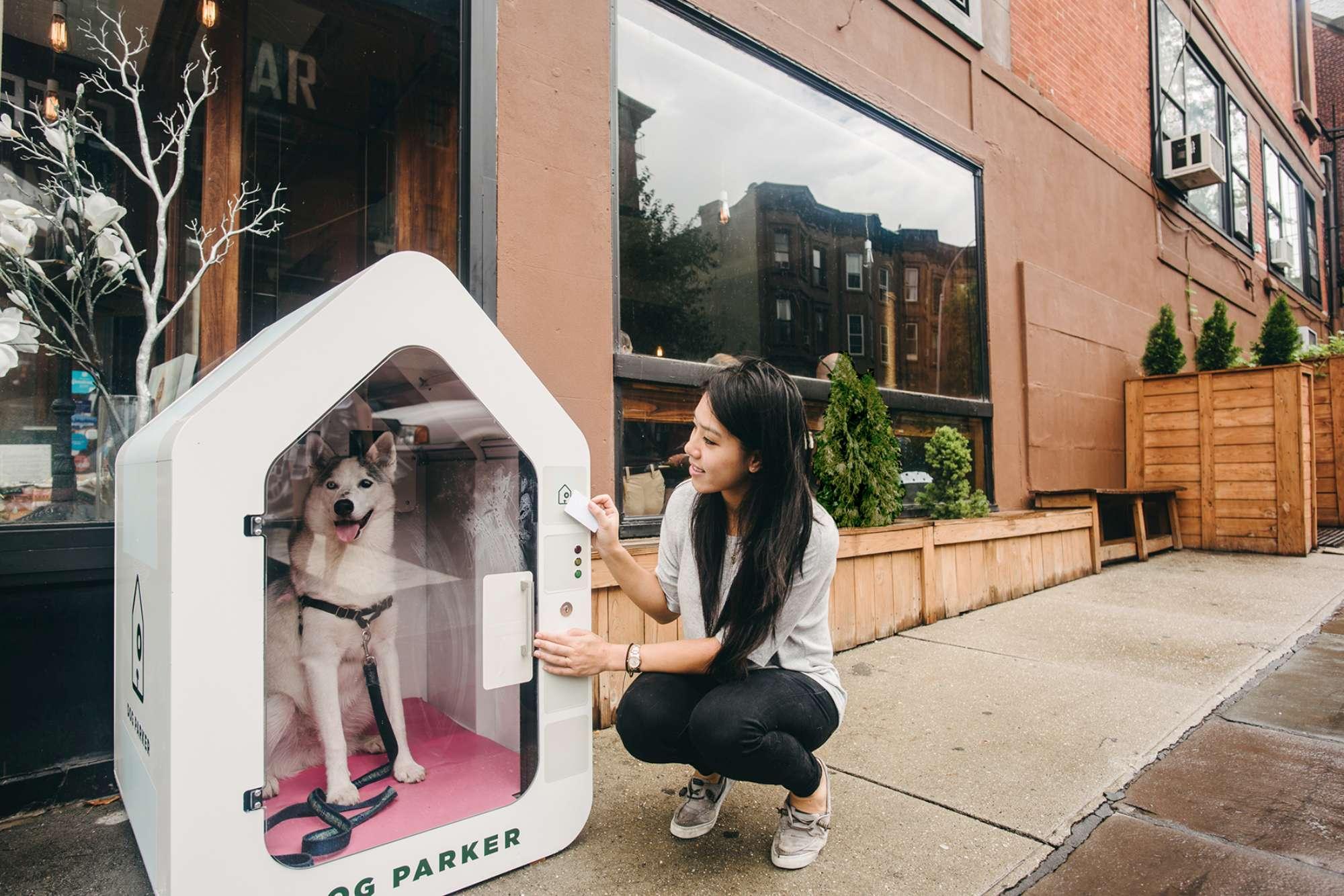 Ecco Dog Parker, la cuccia super tech dove  parcheggiare  il cane mentre si fa shopping