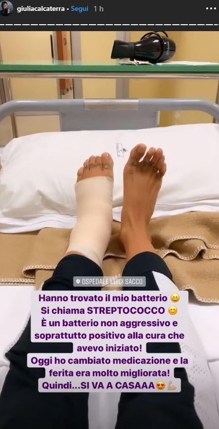 Giulia Calcaterra in ospedale per un batterio rassicura i fan