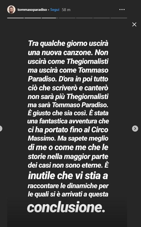 Tommaso Paradiso lascia Thegiornalisti: l addio su Instagram