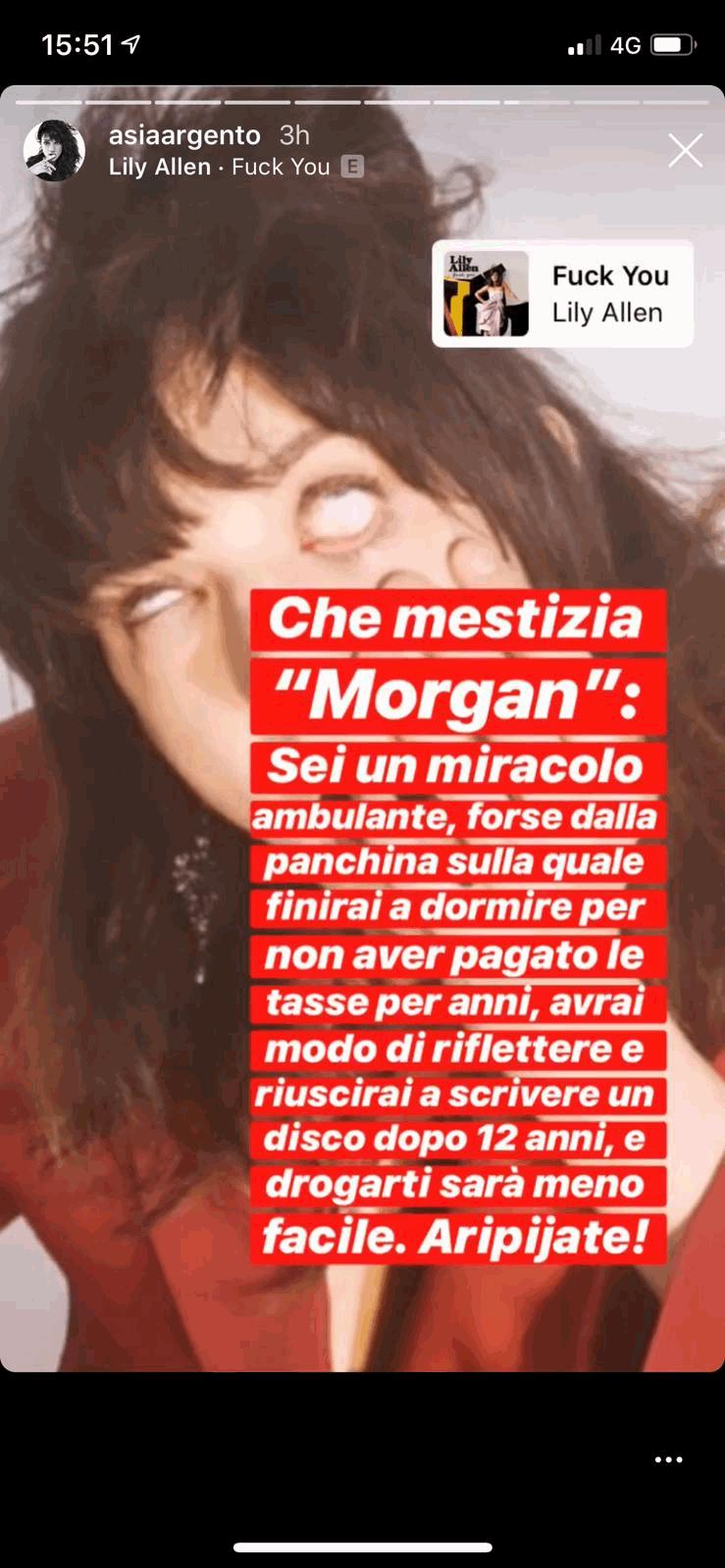 La risposta social di Asia Argento a Morgan