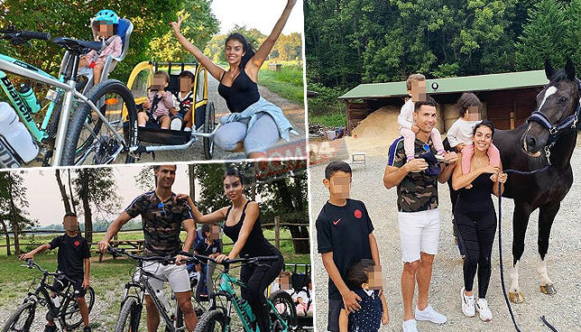 Ronaldo e Georgina in bici al parco con i bimbi