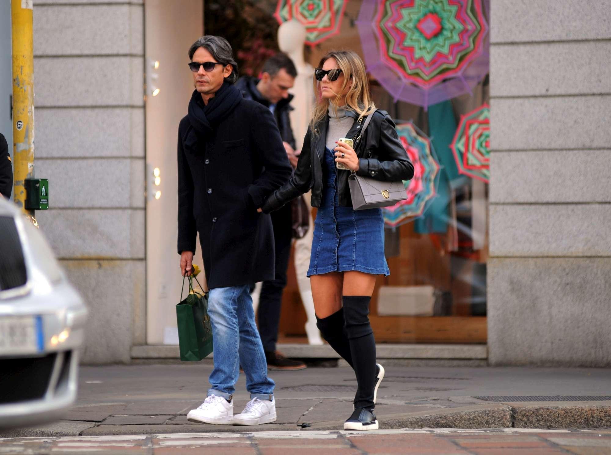 Filippo Inzaghi e Angela Robusti innamorati a Milano