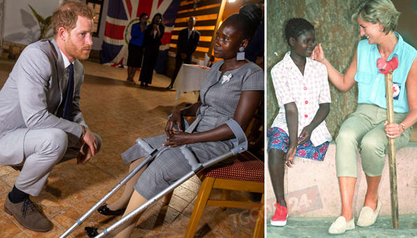 Il principe Harry in Angola incontra la vittima delle mine antiuomo che commosse Lady Diana