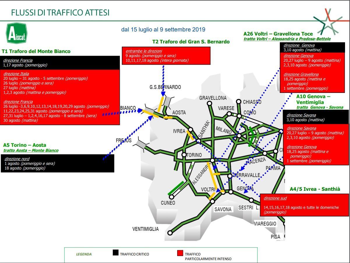 I flussi di traffico previsti nelle giornate critiche